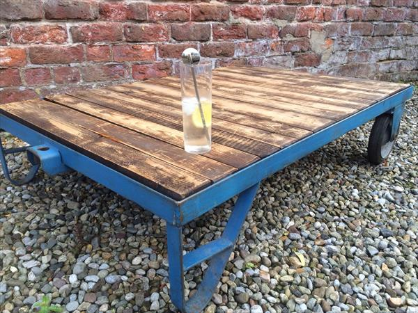 no-cost pallet and metal coffee table