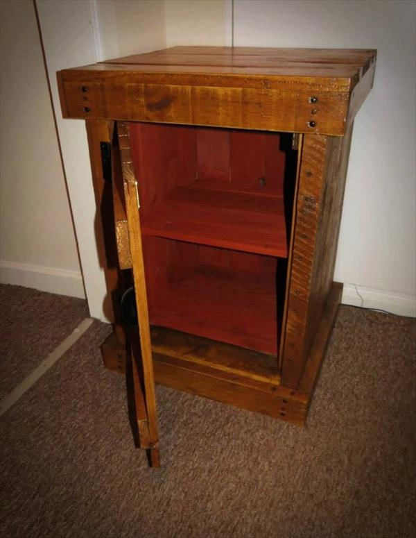 handcrafted pallet nightstand and floor cabinet