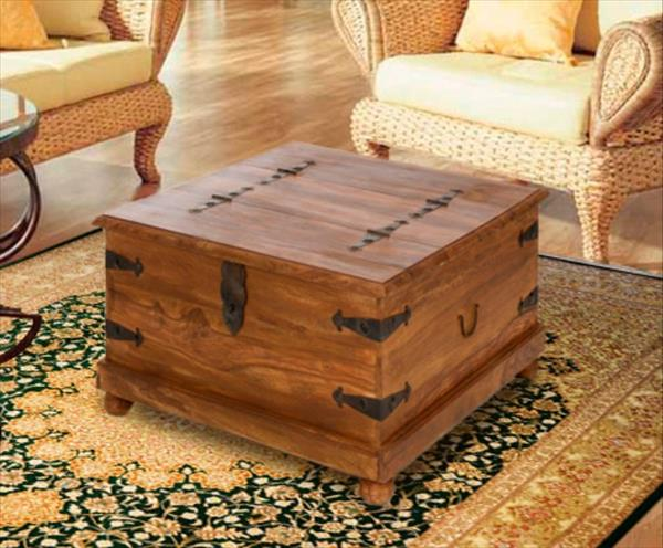 wooden pallet chest and coffee table
