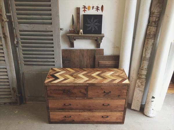 wooden pallet chevron dresser table
