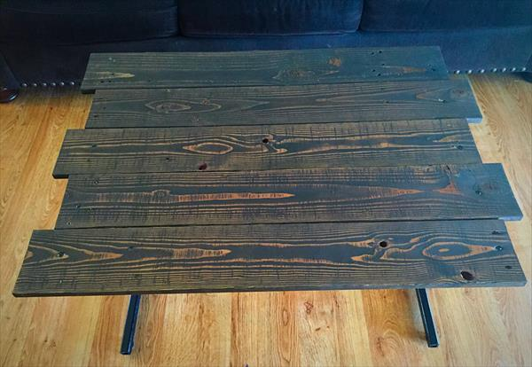 repurposed wooden pallet and metal coffee table