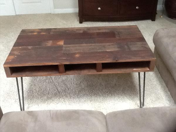 wooden pallet coffee table with metal legs