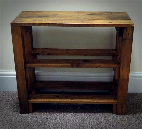 wooden pallet entryway table and shoes rack