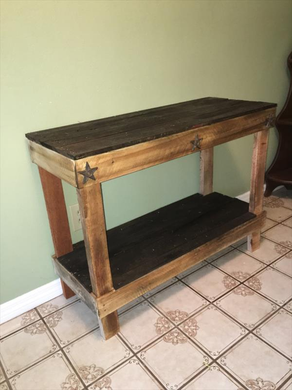 upcycled wooden console table
