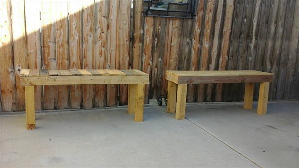recycled pallet outdoor benches