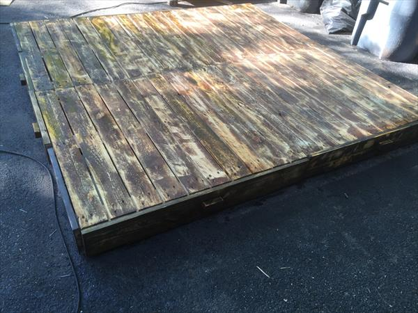 pallet platform bed with drawers