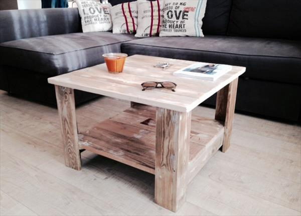 wooden pallet square shape coffee table