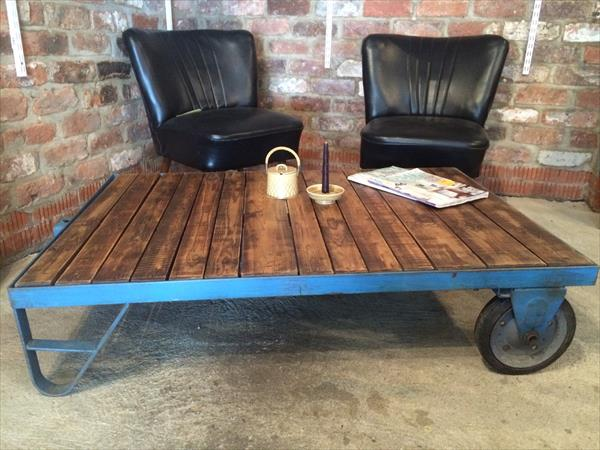 recycled pallet vintage trolley coffee table