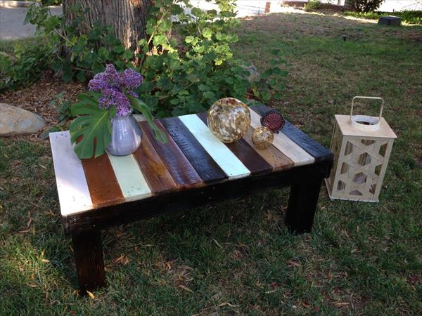 colorful rustic pallet patio coffee table