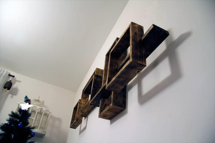 repurposed pallet wall mounted shelving unit