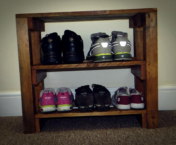handcrafted pallet entryway table and shoes rack