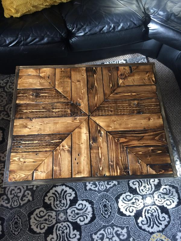 low cost industrial pallet coffee table