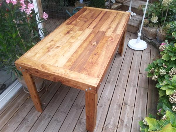 handcrafted pallet wooden dining table