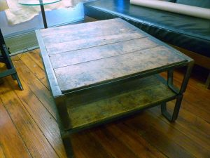 mid century pallet coffee table with metal legs