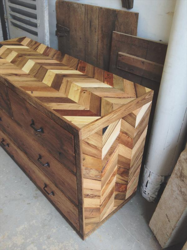 no-cost wooden pallet chevron chest of drawers