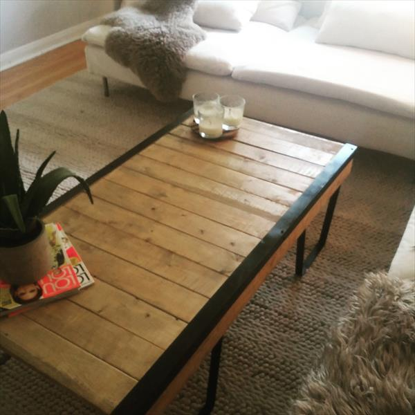 upcycled wooden pallet coffee table with metal box like legs
