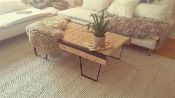 diy vintage pallet coffee table with metal box like legs