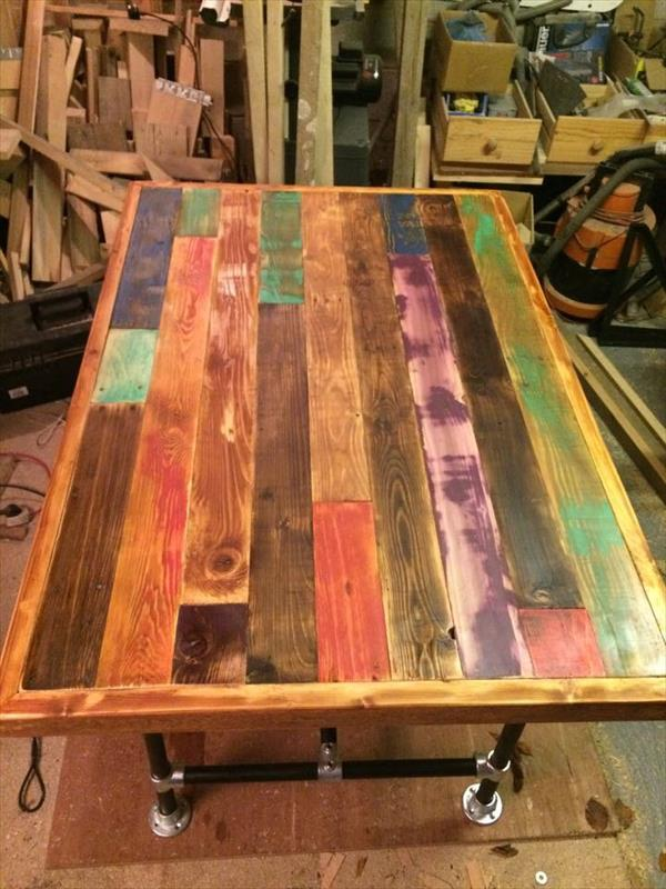 upcycled wooden pallet dining table