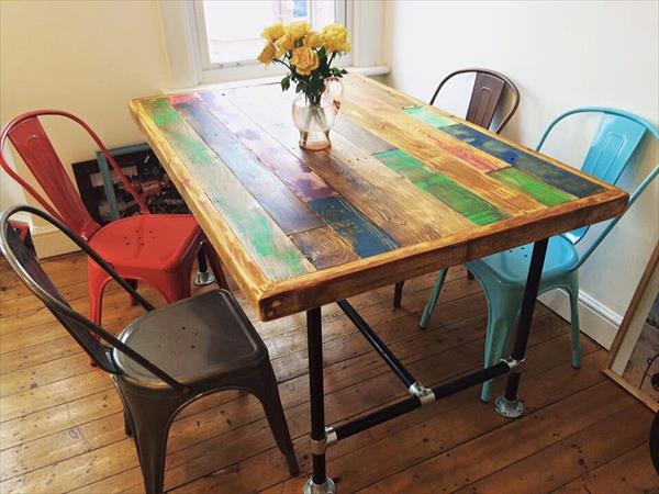 diy pallet and metal pipe dining table