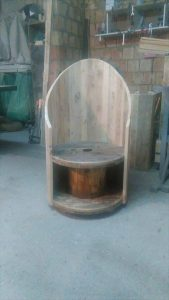 Pallet Wood and Cable Spool Crown Chair