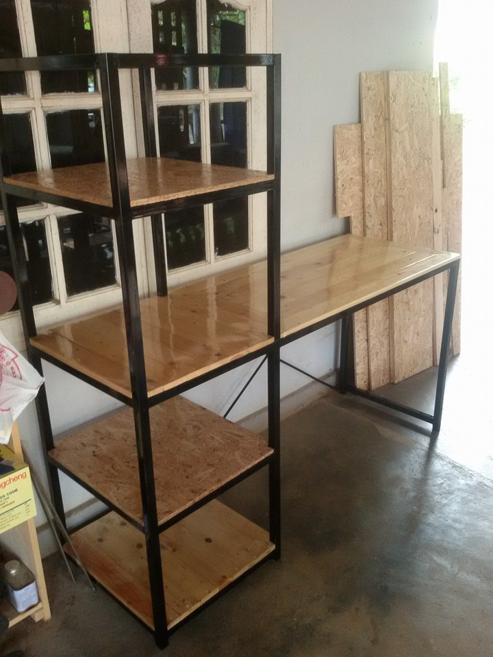 pallet and metal desk