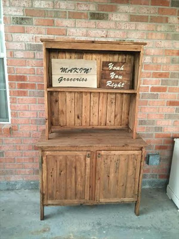 repurposed rustic wooden pallet hutch