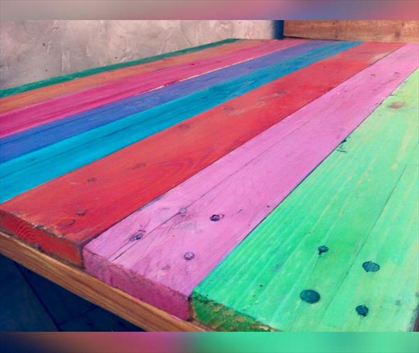 recycled pallet rainbow coffee tablee