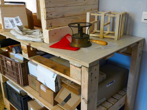 handmade pallet storage organizer trolley
