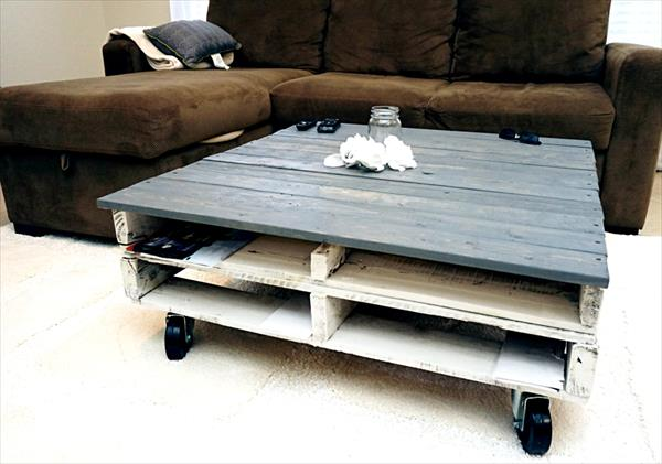 recycled pallet storage friendly coffee table