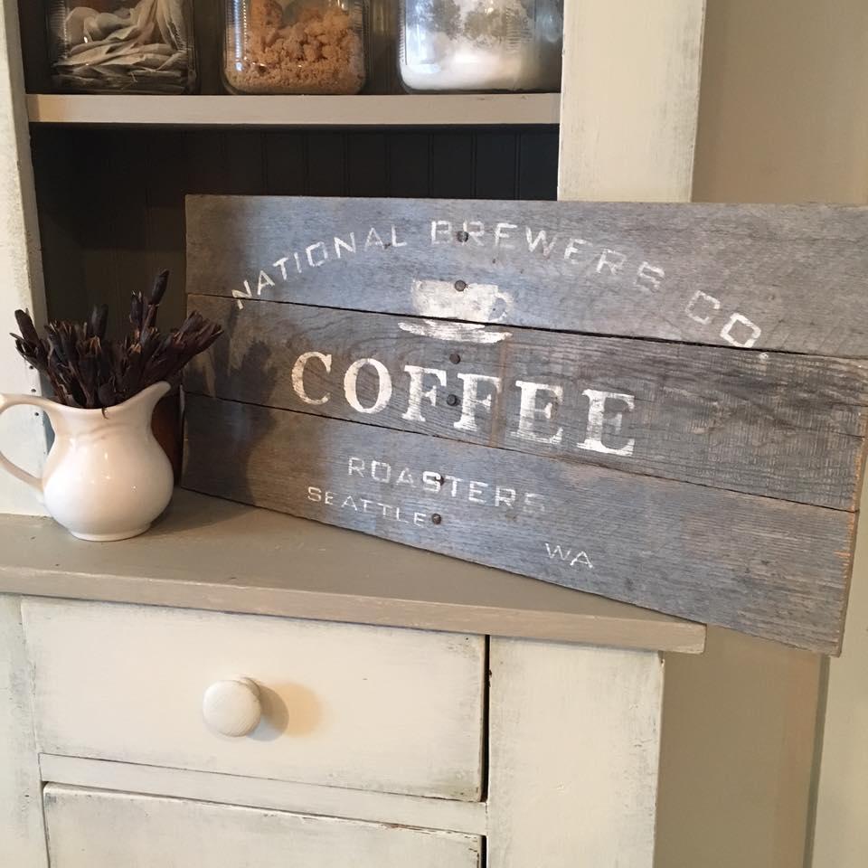 diy pallet coffee sign display plate