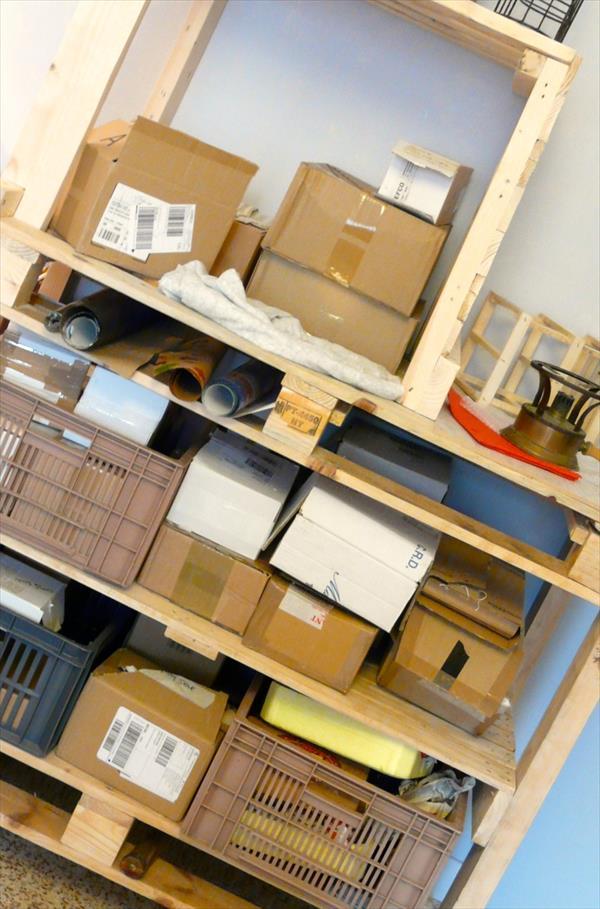 low-cost wooden pallet storage organizer trolley