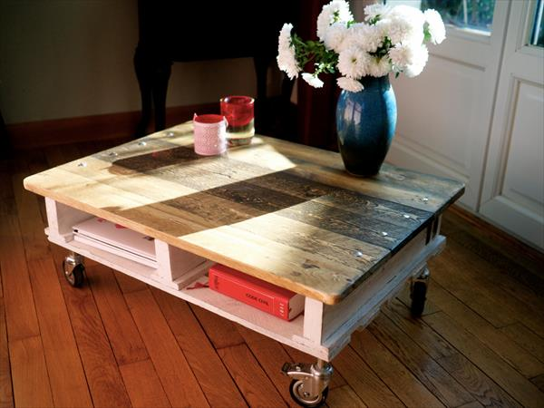 wooden pallet industrial coffee table