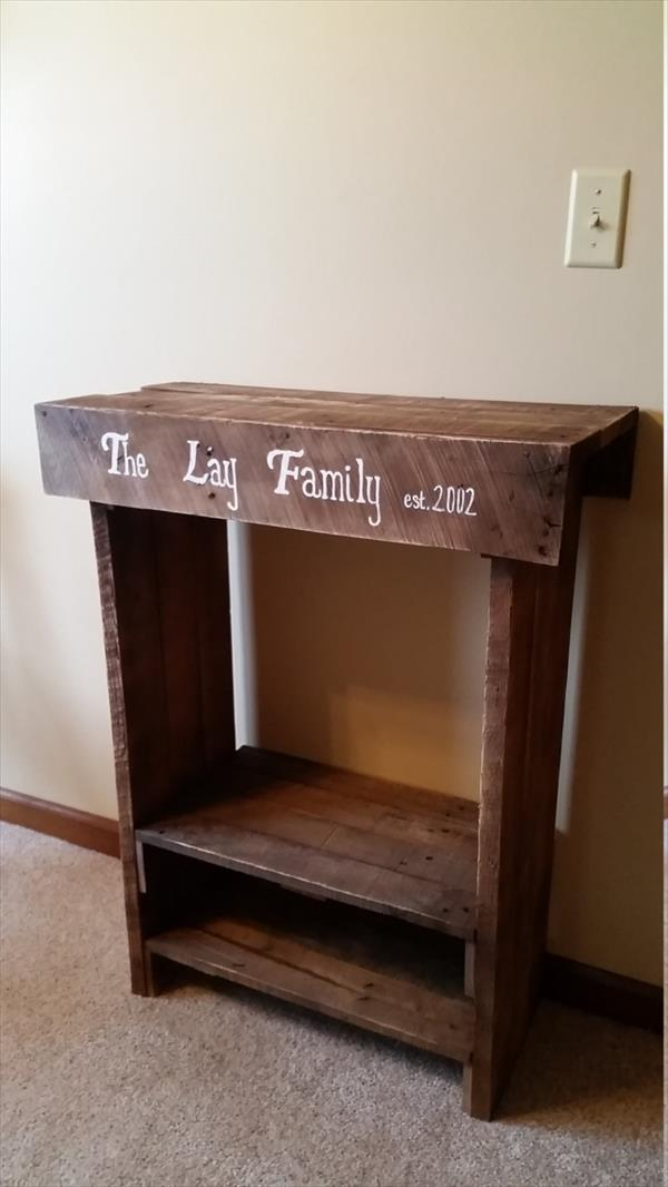 repurposed wooden pallet side table