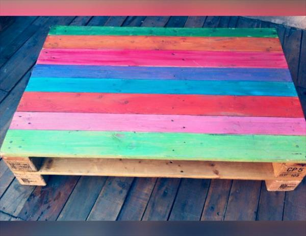 diy wooden pallet rainbow coffee table