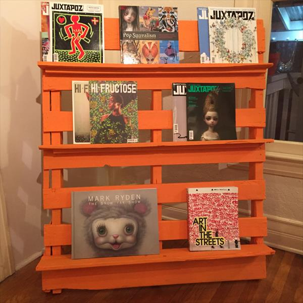 painted pallet bookshelf