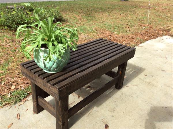 recycled dark stained pallet bench