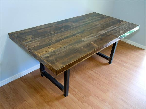 Reclaimed Wooden Pallet Dining Table Furniture Plans
