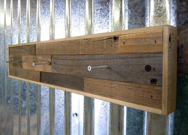 upcycled wooden pallet coat rack