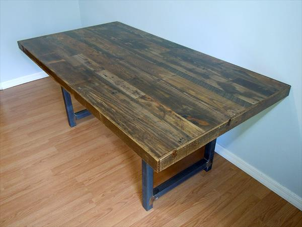 handcrafted wooden pallet dining table