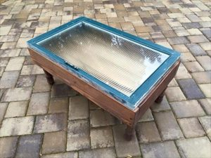 Pallet and Old Window Coffee Table