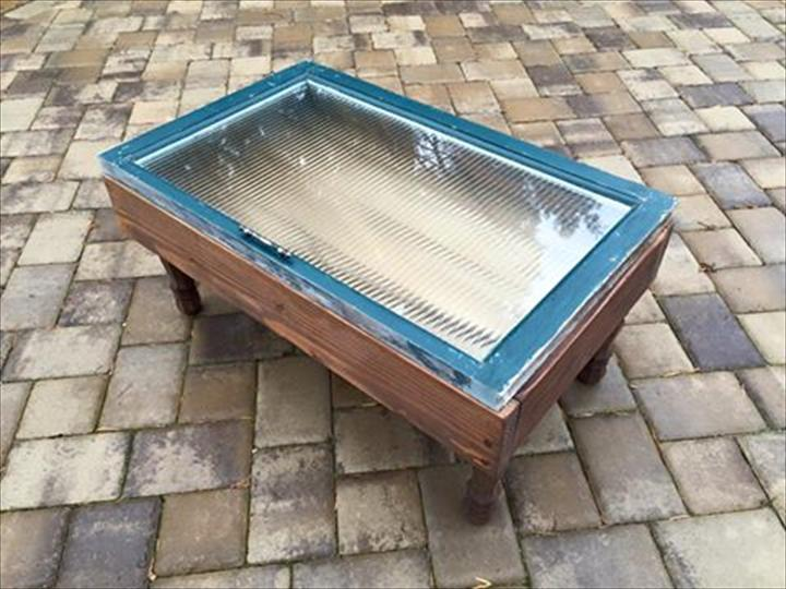 Wooden pallet window coffee table