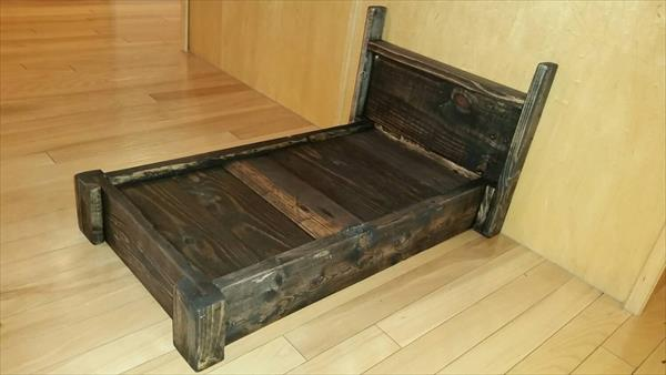 sturdy wooden pallet pet bed