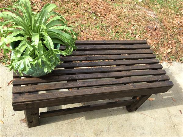 handmade wooden pallet dark stained bench