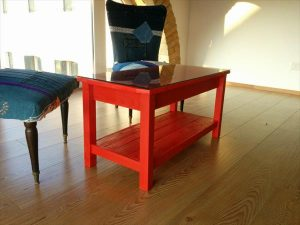 Red Painted Pallet Coffee Table with Glass Top