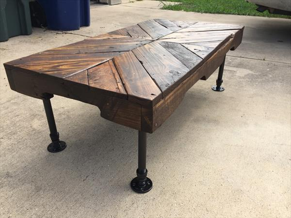 handmade one multi-chevron pallet coffee table with metal pipe legs