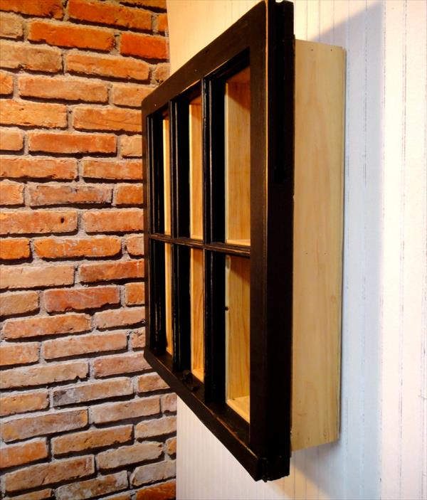 wooden pallet and old window frame bookshelf