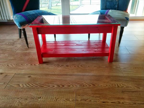 Red Painted Pallet Coffee Table With Glass Top Pallet