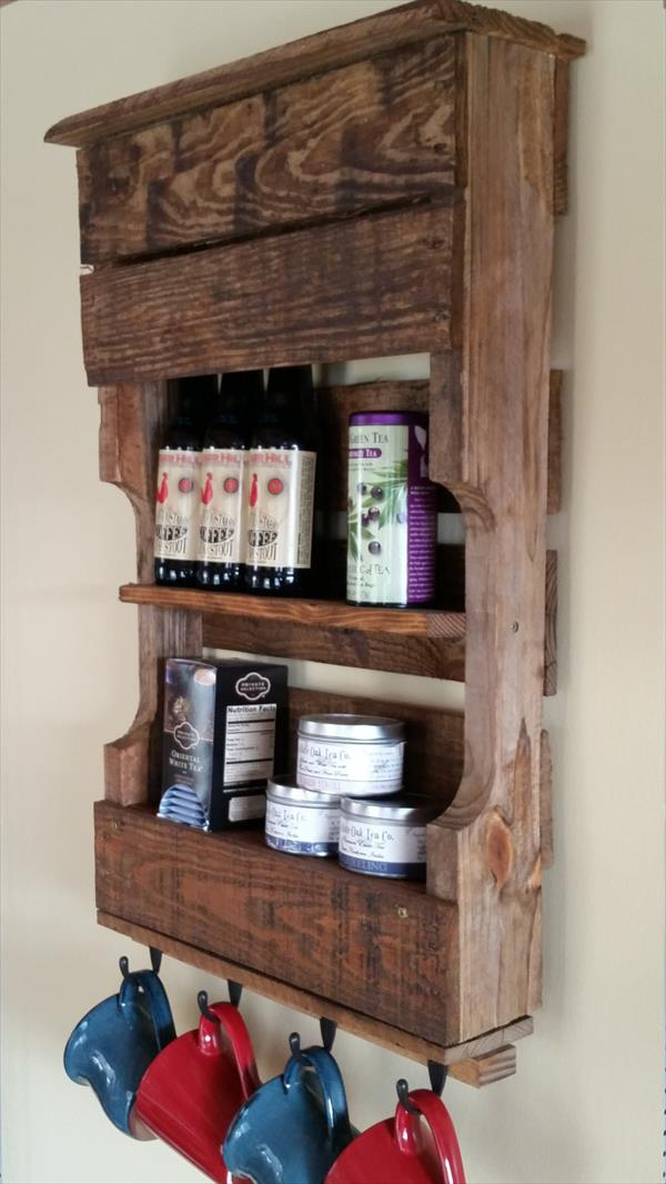 low-cost wooden pallet kitchen organizer