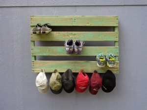 distressed light green pallet shoes rack with hooks