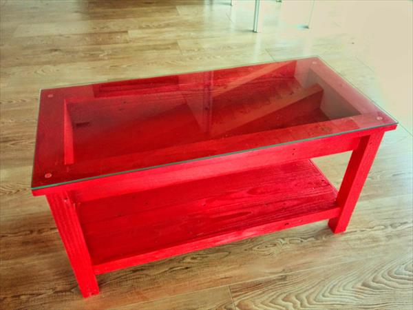 modern pallet red coffee table with glass top